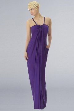 Spaghetti Straps Pleats Long Cheap Purple Evening Dress