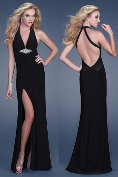 Poltimore Sexy Split Front Low V Backless Evening Gown in Black Jersey