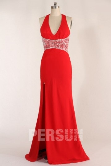 Dressesmall Sexy Beaded Split Front Low V neck Chiffon Red Formal Dress