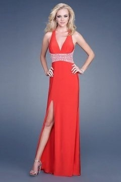 Portishead Sexy Low V neck Red Split Front Prom Dress