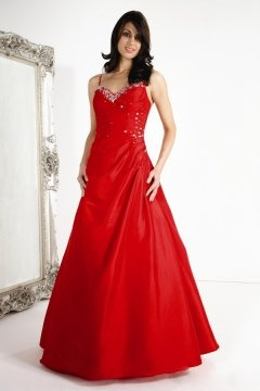 Sweetheart Spaghetti Straps Ball Gown Long Red Cheap Evening Dress
