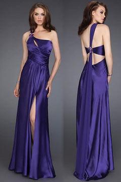 One Shoulder Keyhole Split Purple Long Prom Dress UK