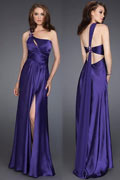Beaded Slit Front One Shoulder Sheath Chiffon Watteau Prom Dress