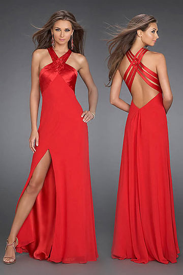 sleeveless side split red prom gown