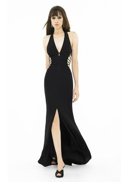 Sexy V neck Cut Out Side Slit Chiffon Black Long Prom Dress