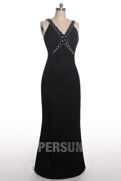 V Ausschnitt Rüsche Chiffon Ballkleid / Abendkleid mit Perlen verziert Persunshop