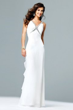 Potton V neck Ruffles White Evening Dress