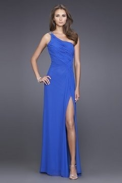 Beaded Slit Side One Shoulder A line Chiffon Prom Dress