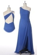 One Shoulder Beaded Slit Side Chiffon Prom / Evening Dress