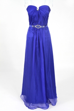 Preston Strapless Notched Long Blue Prom Dress