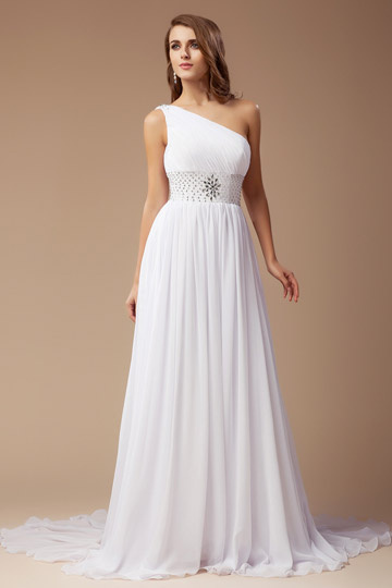 Simple Beaded One Shoulder A line Chiffon Court Train Wedding Dress