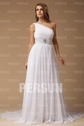 A line One Shoulder Beaded Chiffon Court Train Simple Wedding Dress