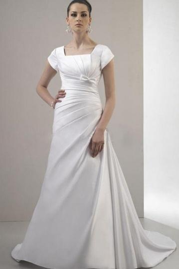 Bow Square Neck A line Satin Court Train Wedding Dress