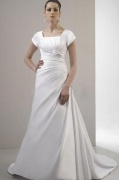 Bow Square Neck A line Satin Court Train Wedding Dress