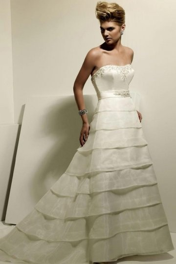 Beaded Tiered Strapless A line Satin Sweep Train Wedding Dress