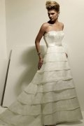 A line Strapless Beaded Tiered Sweep Train Wedding Dress