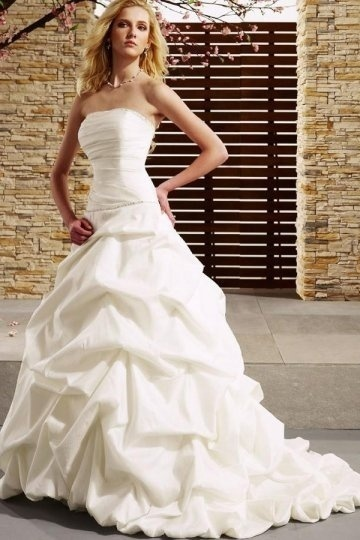 Dressesmall Beading Pleated Strapless Taffeta White A line Wedding Dress