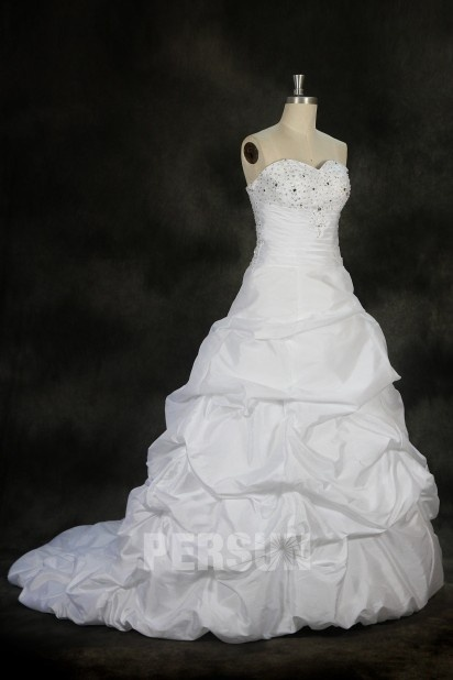 A line Strapless Beaded Pleated Bubble Wedding Dress
