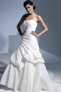 A line Strapless Pleated Chapel Train Wedding Dress
