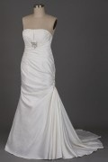 A line Strapless Beaded Pleated Mermaid Wedding Dress