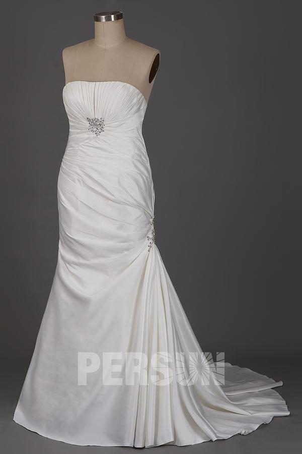 Weiß Trägerloser A-Linie Plissiert Empire Pinsel-Schleppe Meerjungfrau Brautkleid