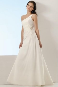 Wath upon Dearne One Shoulder Floor Length Beading Wedding Gown