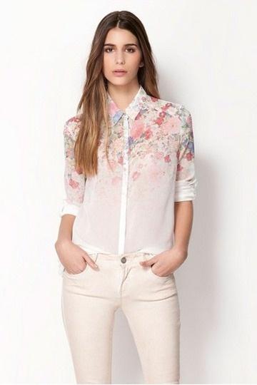 Ombre Flower Print Chiffon Shirt