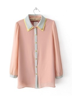 Sweet Lapel Color Contrast Chiffon Shirt