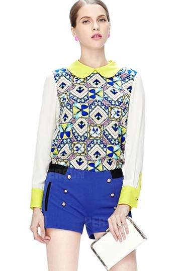 Zipper Back Detailed Pattern Chiffon Shirt