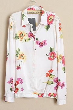 Lace Matching Printed Chiffon Shirt