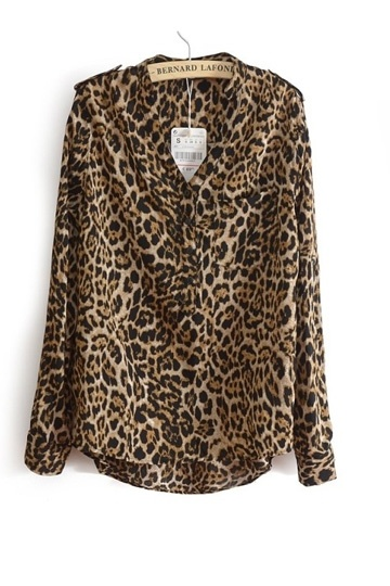 Leisure V-neck Leopard Chiffon Shirt