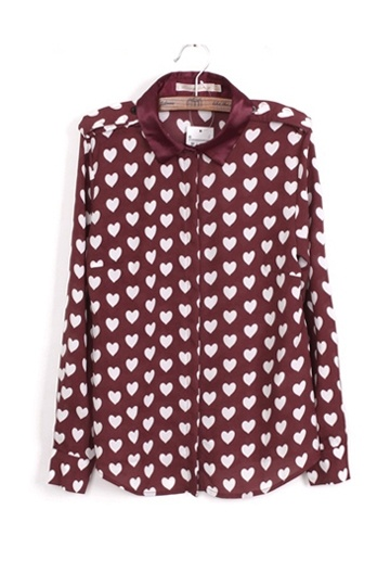 Retro Hearts Printed Shirt