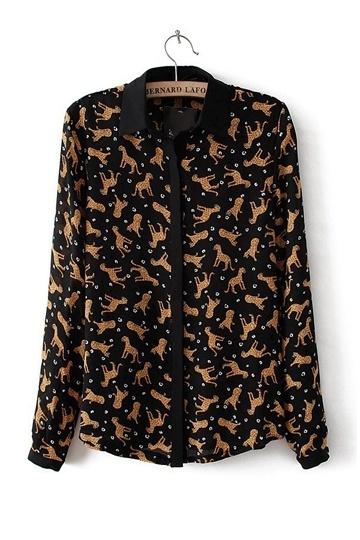 Retro Leopard Print Chiffon Shirt