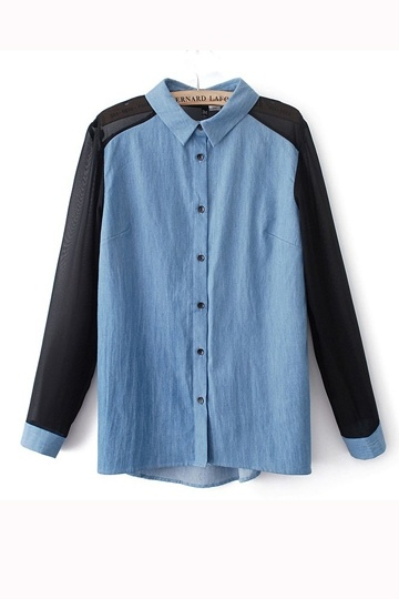 Fashion Chiffon Stitching Shirt