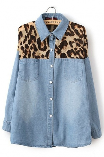 Street Denim Shirt Seamed Leopard