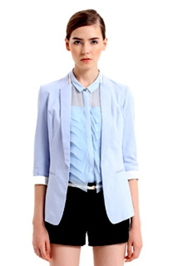 Slim Linen Blazer with Foldable Sleeves