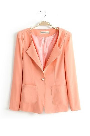 Neat Pure Color Slim Ladies Blazer