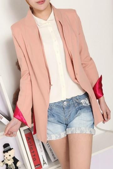 OL Style Slim Chiffon Blazer with Foldable Sleeves