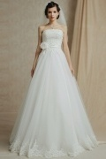 Modern Ivory Tulle A Line Strapless Floor Length Appliques Wedding Dress