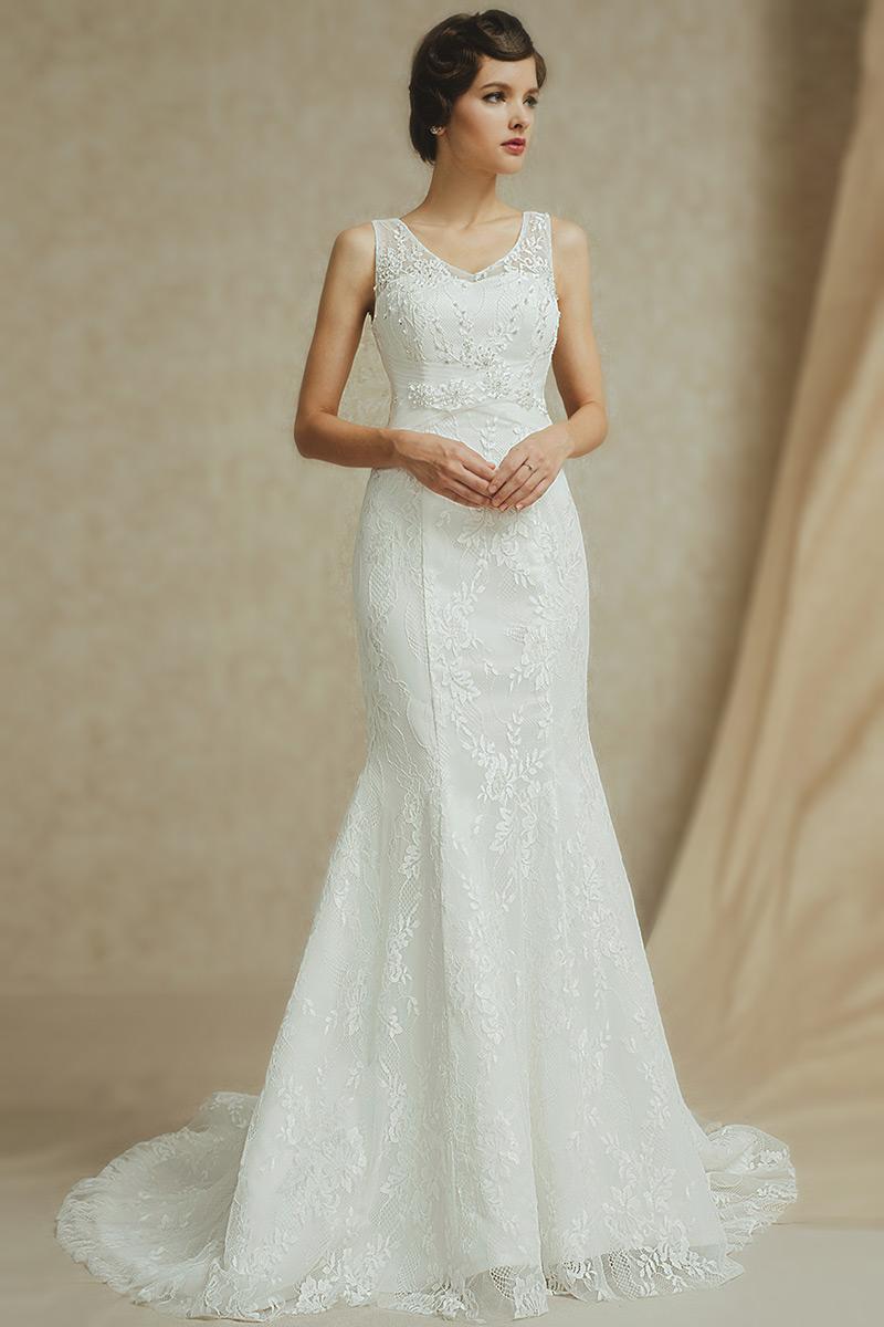 Spitze Ivory Meerjungfrau Brautkleid-PERSUNKLEID