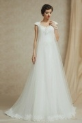 Modern Beach A Line Backless Beading Scalloped Wedding Dress