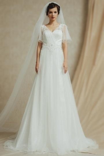 Schlichtes A-Linie V-Ausschnitt langes Brautkleider aus Spitze Persun