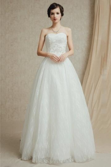 A-Linie Sweetheart Bodenlanges ivory Brautkleider aus Spitze Persun