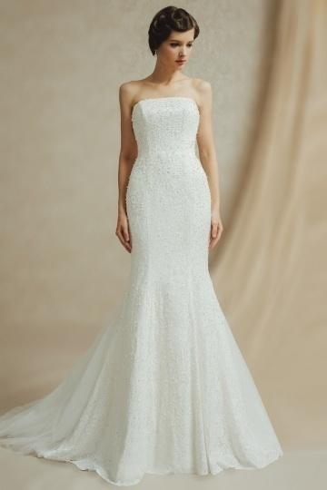 Chic Mermaid Lace Strapless Chapel Train Wedding Dress With Sash
