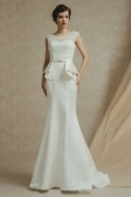 Chic Mermaid Satin Scoop Court Train Backless Ruffles Wedding Dress