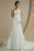 Sexy Strapless A Line Chiffon Sweetheart Beading Wedding Dress