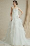 Schlichtes langes A-Linie Herz-Ausschnitt Brautkleider mit Schnürung