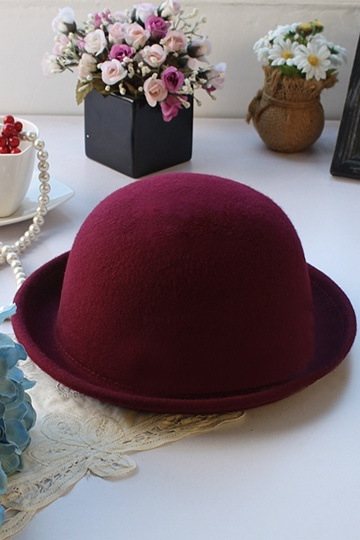 Chic Burgundy Wool Blending Bowler Hat