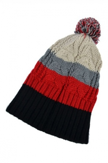 Fancy Color Block Warm Knitting Hat
