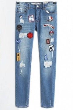Bleached Distressed Jeans with Patch